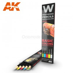Set BASIC COLORS: Shading & demotion. Weathering pencils 5 colores. Marca AK Interactive. Ref: AK10045.