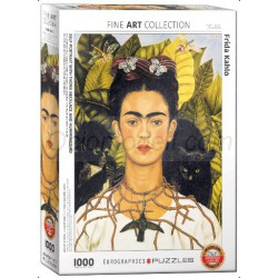 Self-portrait with Thorn Necklace and Hummingbird Kahlo, Frida. Puzzle vertical, 1000 pz. Marca Eurographics. Ref: 6000-0802.