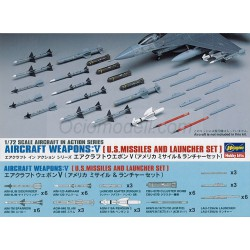 AIRCRAFT WEAPONS: VIII (U.S. AIR-TO-AIR MISSILES & JAMMING PODS). Escala 1:72. Marca Hasegawa. Ref: X72-13 (35113).