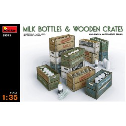 MILK BOTTLES & WOODEN CRATES. Escala 1:35. Marca Miniart. Ref: 35573.