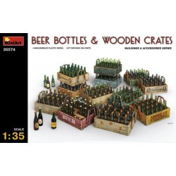 BEER BOTTLES & WOODEN CRATES. Escala 1:35. Marca Miniart. Ref: 35574.