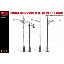TRAM SUPPORTS & STREET LAMP. Escala 1:35. Marca Miniart. Ref: 35523..