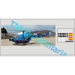 Calcas del helicóptero BO-105, Agencia Tributaria Aduanas, azul. Escala 1:72. Marca Trenmilitaria. Ref: 000_4559.