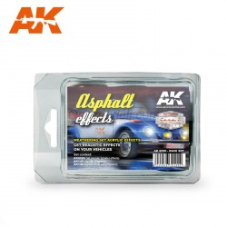 Set Acrílicos para vehículos, ASPHALT EFFECTS (RACE SET). Marca Ak-Interactive. Ref: AK8090.