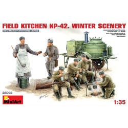 Set de cocina KP-42, escena de invierno. Escala 1:35. Marca Miniart. Ref: 35098.