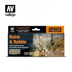 Acrilico Model Air: set Ruins & Rubble, ruinas y escombros. 8 colores de 17 ml. Marca Vallejo. Ref: 71214.