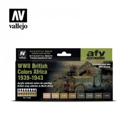 Set Model air WWII British Colors Africa 1939-1943. 8 Colores. Bote 17 ml. Marca Vallejo. Ref: 71622.