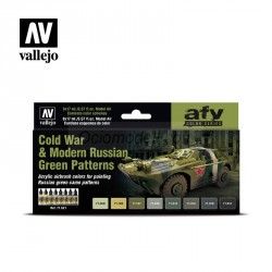 Set Model air, Cold War & Modern Russian Green Patterns. 8 Colores. Bote 17 ml. Marca Vallejo. Ref: 71621.