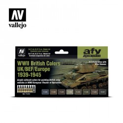 Set Model air, WWII British Colors UK/BEF/Europe 1939-1945. 8 Colores. Bote 17 ml. Marca Vallejo. Ref: 71614.