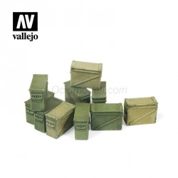 Cajas grandes de munición de 12,7 mm. Escala 1:35. Marca Vallejo. Ref: SC221.