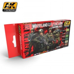 Set de colores, WOODLAND AND FLECKTARN CAMOUFLAGES. Marca AK Interactive. Ref: AK3250.