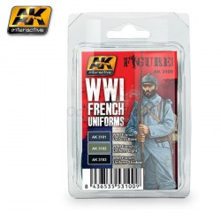 Set de colores, WWI French Uniforms. Marca AK Interactive. Ref: AK3100.