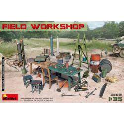 accesorios taller de reparaciones en campaña, Field workshop. Escala 1:35. Marca Miniart. Ref: 35591.