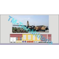 """Calcas Avión LOCKHEED C-130 HERCULES 31-05, decoración """"camuflaje """"lagarto"""". Escala 1:72. Marca Trenmilitaria. Ref: 000_5004."""