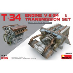 T-34 Engine V-2-34 & TRANSMISSION SET. Escala 1:35. Marca Miniart. Ref: 35205.
