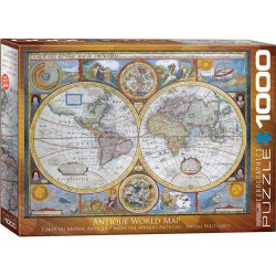 Mapa mundi antiguo. Puzzle horizontal, 1000 pz. Marca Eurographics. Ref: 6000-2006.