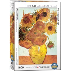 Twelve sunflowers por Vicent Van Gogh. Puzzle vertical, 1000 pz. Marca Eurographics. Ref: 6000-3688.