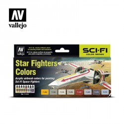 Set Model air Star Fighters colors. 8 Colores. Bote 17 ml. Marca Vallejo. Ref: 71612.