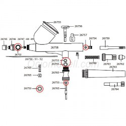 Set de juntas para aerógrafo D-102 (26020-26021). Marca Dismoer. Ref: 26753.