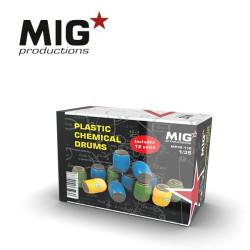 Plastic chemical drums, bidones químicos de plástico. Escala 1:35. Marca Mig productions. Ref: MP35-110.