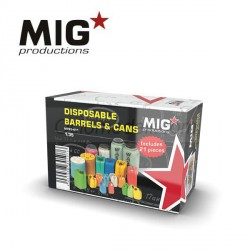 DISPOSABLE BARRELS & CANS, BARRILES Y LATAS DESECHABLES. Escala 1:35. Marca Mig productions. Ref: MP35-411.