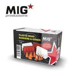 PLASTIC ROAD BARRIERS & CONES, Barreras y conos de carretera de plástico. Escala 1:35. Marca Mig productions. Ref: MP35-413