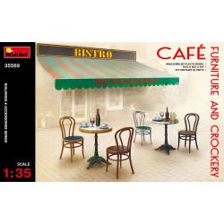 Accesorios, muebles de cafe y vajilla. Escala 1:35. Marca Miniart. Ref: 35569.