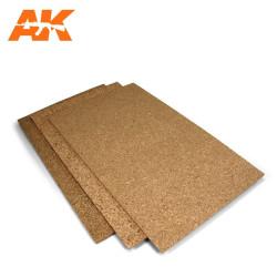 Plancha de corcho  de grano fino. 200x300 y 1-2-3mm. Marca AK Interactive. Ref: AK8049.