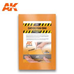 Carving foam, Espuma fenólica grosor 8 mm en A5. Marca AK Interactive. Ref: AK8093.