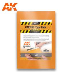 Carving foam, Espuma fenólica grosor 8 mm en A4. Marca AK Interactive. Ref: AK8095.