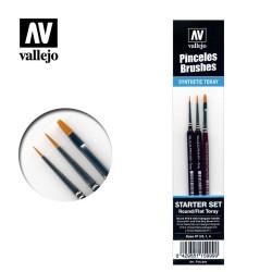 Set de pinceles toray, sable y planos. Nº 3/0, 1, 4. Mango triángular. Marca Vallejo. Ref: P15.999.