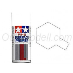 Spray Surface Primer blanco,L. Grano superfino, para plástico y metal. Bote 180 ml. Marca Tamiya. Ref: 87044.