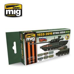 Set de colores verdes Rusos míticos. Marca Ammo of Mig Jimenez. Ref: AMIG7160.