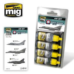Set de colores de aviones modernos franceses. Marca Ammo of Mig Jimenez. Ref: AMIG7211.