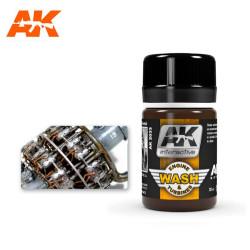 Lavado motores de aviones, Wash aircraft engine. Bote de 35 ml. Marca AK Interactive. Ref: AK2033.