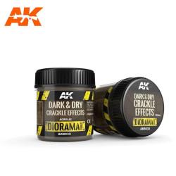 Effects dark and dry crackle, efecto craquelado sombrío y seco. Bote de 100 ml. Marca AK Interactive. Ref: AK8032.