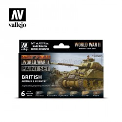 Set Model color y wargame WWII British Armour & Infantry. 6 Botes 17 ml. Marca Vallejo. Ref: 70204.