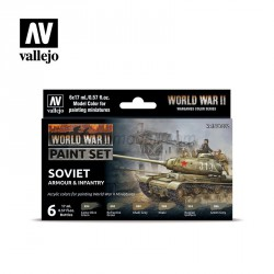 Set Model color y wargame, WWII Soviet Armour & Infantry. 6 Botes 17 ml. Marca Vallejo. Ref: 70202.