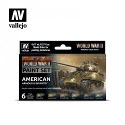 Set Model color y wargame WWII American Armour & Infantry. 6 Botes 17 ml. Marca Vallejo. Ref: 70203.