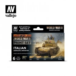 Set Model color y wargame WWII Itailan Armour & Infantry. 6 Botes 17 ml. Marca Vallejo. Ref: 70209.