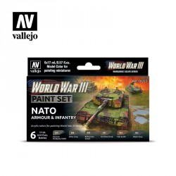 Set Model color y wargame WWII Nato Armour & Infantry. 6 Botes 17 ml. Marca Vallejo. Ref: 70223.
