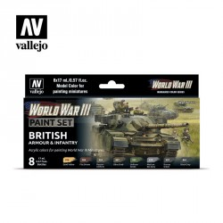 Set Model color y wargame WWIII British Armour & Infantry. 8 Botes 17 ml. Marca Vallejo. Ref: 70222.