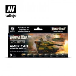 Set Model color y wargame WWIII American Armour & Infantry. 8 Botes 17 ml. Marca Vallejo. Ref: 70220.