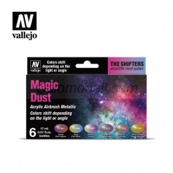 Set color sifhters, Magic dust, para airbrush. 6 Botes 17 ml. Marca Vallejo. Ref: 77090.