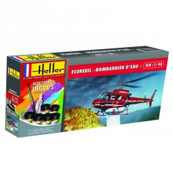Set Helicóptero Ecureuil Bombardier D'EAU. Escala 1:48. Marca Heller. Ref: 56485.