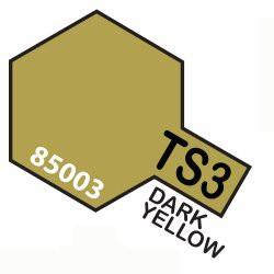 Spray amarillo oscuro mate, dark yellow (85003). Bote 100 ml. Marca Tamiya. Ref: TS-3.