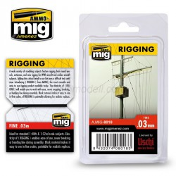 Aparejos, rigging - medio 0.03 mm. Longitud 2 m. Marca Ammo of Mig Jimenez. Ref: AMIG8018.