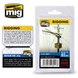 Aparejos, rigging - fino 0.02 mm. Longitud 2 m. Marca Ammo of Mig Jimenez. Ref: AMIG8017.