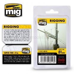 Aparejos, rigging - superfino 0.01 mm. Longitud 2 m. Marca Ammo of Mig Jimenez. Ref: AMIG8016.