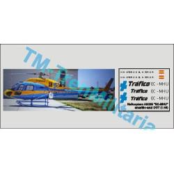 """Calcas Helicóptero AS335 """" EC-MHU """", amarillo-azul DGT. Escala 1:48. Marca Trenmilitaria. Ref: 000_5184."""